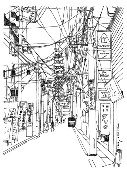 Street View Drawing Osaka – Downtown Street View