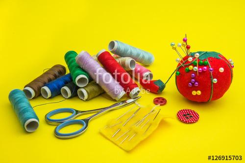 sewing tools and bobbins thread