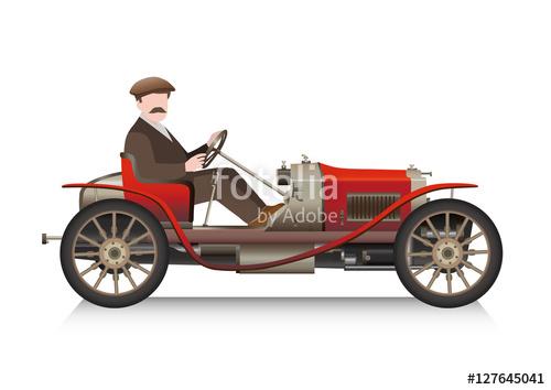 gentleman driving an old sport car