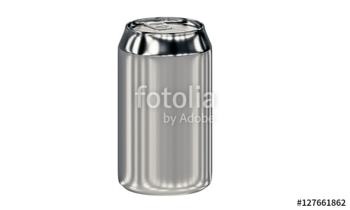 Blank aluminum can isolated on white background