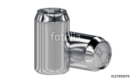 two blank aluminum cans isolated on white background
