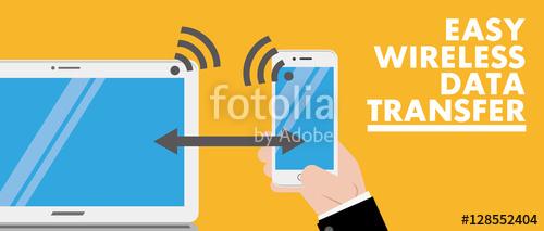 wireless data transfer banner vector