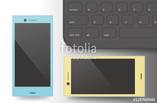 two smartphones and laptop keyboard close up vector