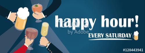 Happy hour vector banner