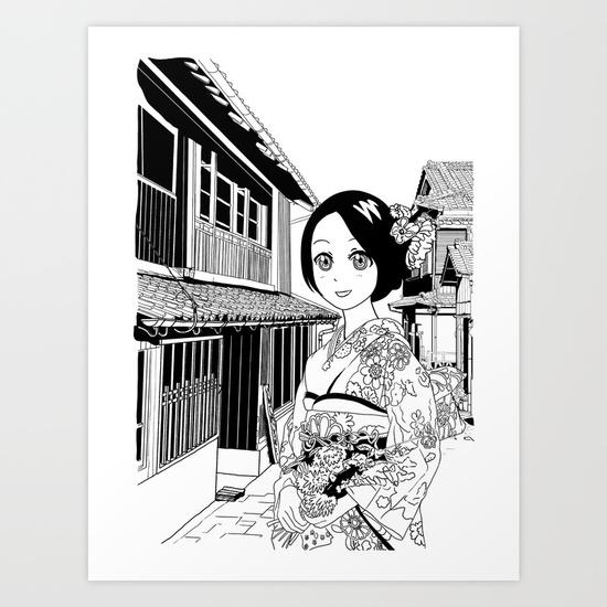 kimono-girl-manga-style-drawing-prints