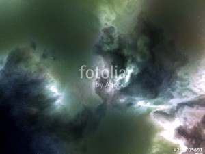 green nebula space stars sky CG illustration background