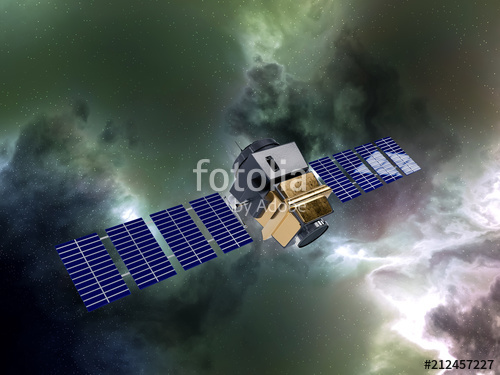 artificial satellite concept 3D rendering in the space green neb