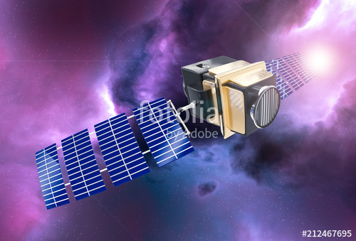 artificial satellite concept 3D rendering in the space purple ne
